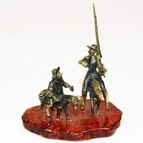 Дон-Кихот - фигурка из бронзы с камнем янтарь