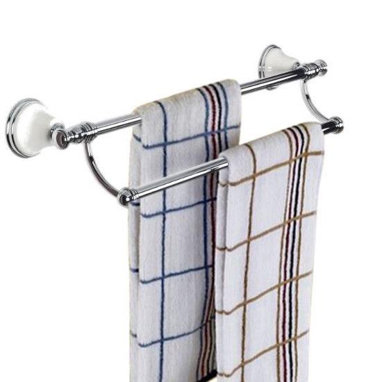 Двойной держатель полотенец для ванной, 58 см