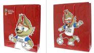 FIFA-2018 большой пакет подарочный, 34х28х9см, красный, ручка-шнурок (арт. Т11904)