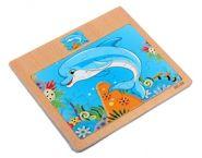 """Пазл-рамка деревянная для малышей """"Дельфин"""" 12 эл. (15х16.5 см) с картинкой (арт. ИД-9966)"""