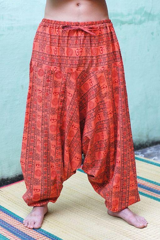 ЖЕЛТЫЕ плотные мужские штаны алладины с символом Ом (Москва)