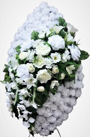 Фото Ритуальный венок из искусственных цветов - Элит #39 белый из роз, лилий и зелени