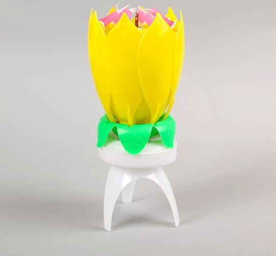 Свеча поющая раскрывающая Тюльпан желтая
