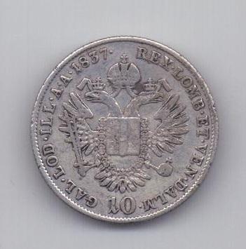 10 крейцеров 1837 года Прага Чехия Австрия