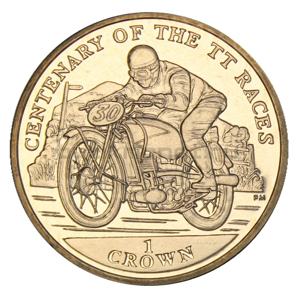 1 крона 2007 Остров Мэн Мотоцикл (100 лет Мотогонкам Tourist Trophy)