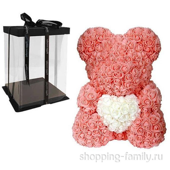 Персиковый Мишка из роз с сердцем в подарочной коробке, 40 см