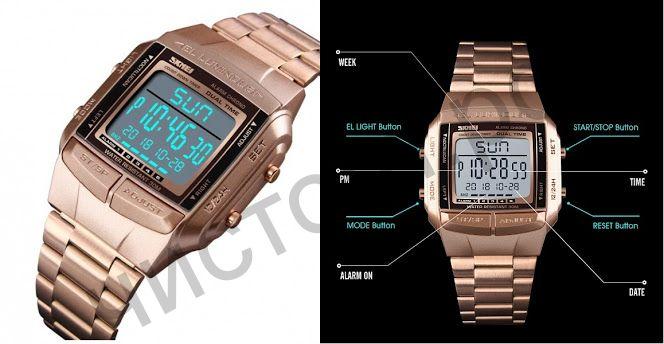 Часы наручные Skmei 1381 ЗОЛОТО подсветка ,секундомер , будильник Высокое качество Водонепроницаемые !