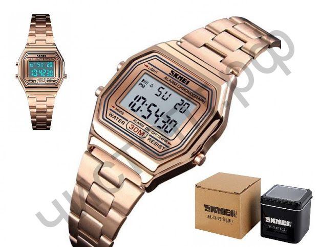Часы наручные Skmei 1415 ЗОЛОТО подсветка ,секундомер , будильник Высокое качество Водонепроницаемые !