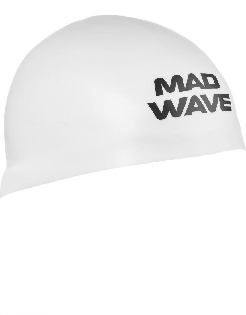 Шапочка для плавания силиконовая Mad Wave D-CAP (белая)