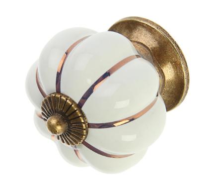 Ручка кнопка керамическая, Белая, 4 см