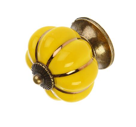Ручка кнопка керамическая, Желтая, 4 см