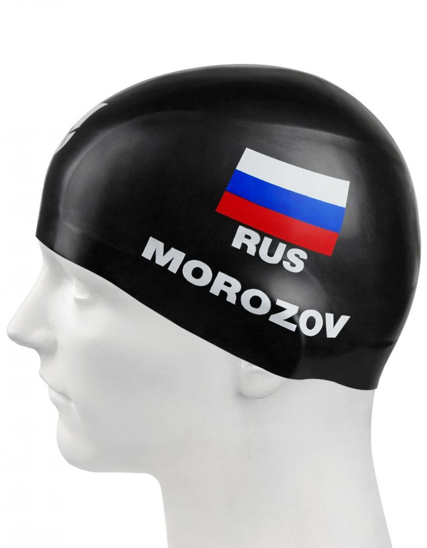 Шапочка для плавания силиконовая Mad Wave MOROZOV R-Cap (черная)