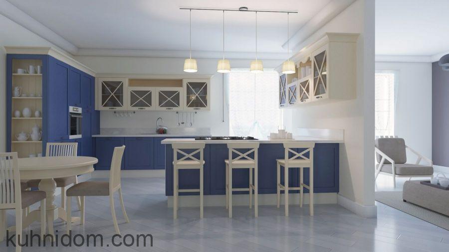 Кухня Гретта Сине-Бежевая