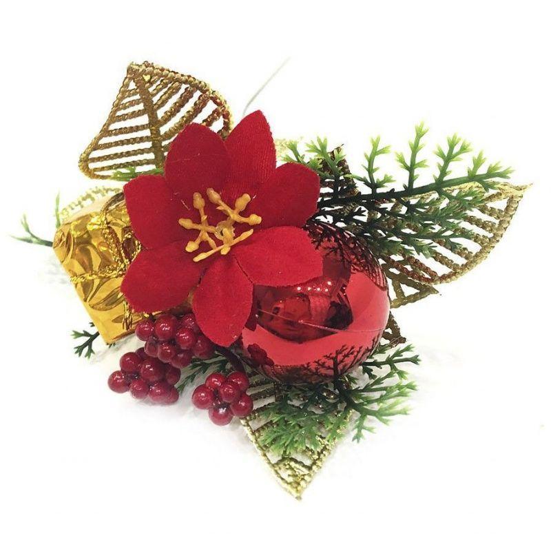 Новогодняя Декоративная Веточка С Рябиной И Пуансеттией, 24 См, Цвет Фиолетовый
