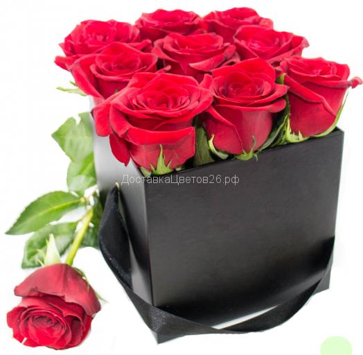 Куб с красными розами