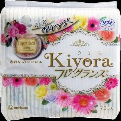 Unicharm Sofy Kiyora Happy Floral Ежедневные гигиенические прокладки с цветочным ароматом 72 шт