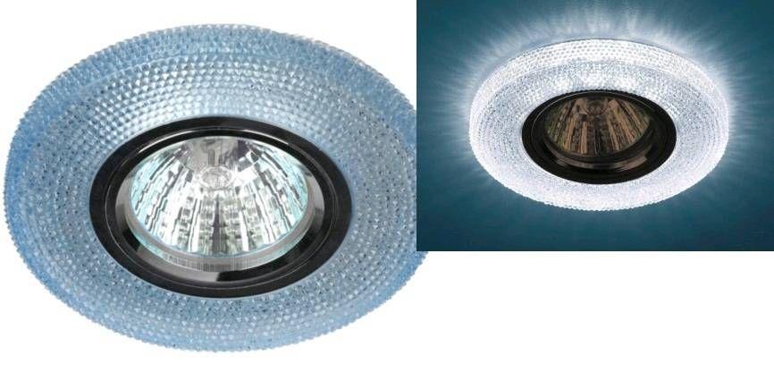 Светильник встраиваемый ЭРА DK LD1 BL MR16 GU5.3 220V круг, d100 мм голубая св/д подсветка 3W