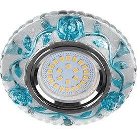 """Светильник встраиваемый Ecola LD7071 MR16 GU5.3 искристый с подсветкой """"Розы"""" Голубой/Хром 25x95 FB16CREFB"""