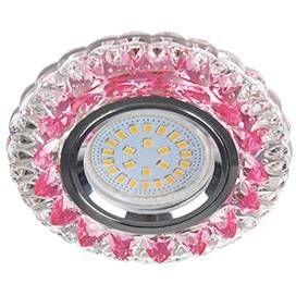 """Светильник встраиваемый Ecola LD7009 MR16 GU5.3 искристый с подсветкой """"Кристалл"""" Розовый/Хром 30x95 FP16CCEFB"""
