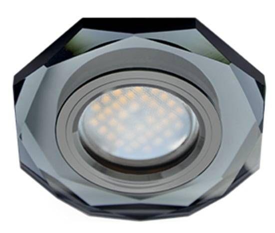 Светильник встраиваемый Ecola DL1652 MR16 GU5.3 стекло 8-угольник Черный/Черный хром 25x90 FB1652EFF