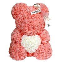 Мишка из роз с сердцем в подарочной коробке, 40 см, Цвет: Персиковый