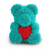 Мишка из роз с сердцем в подарочной коробке, 40 см, Цвет: Мятный
