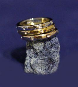 Позолоченное комбинированным золотом кольцо 3-в-1 (арт. 880170)