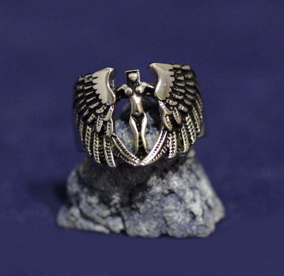 "Стальное мужское кольцо-печатка Spikes ""Крылья ангела"" (арт. 880171)"