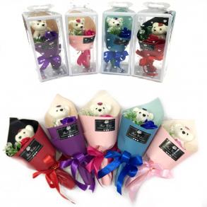 Букет из парфюмированного мыла - Розы с медвежонком Best Wishes, 25 см