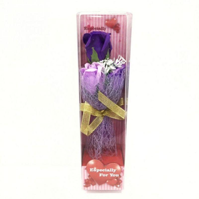 Подарочное мыло букет роз в пластиковой упаковке Especially for You, 28 см, цвет фиолетовый
