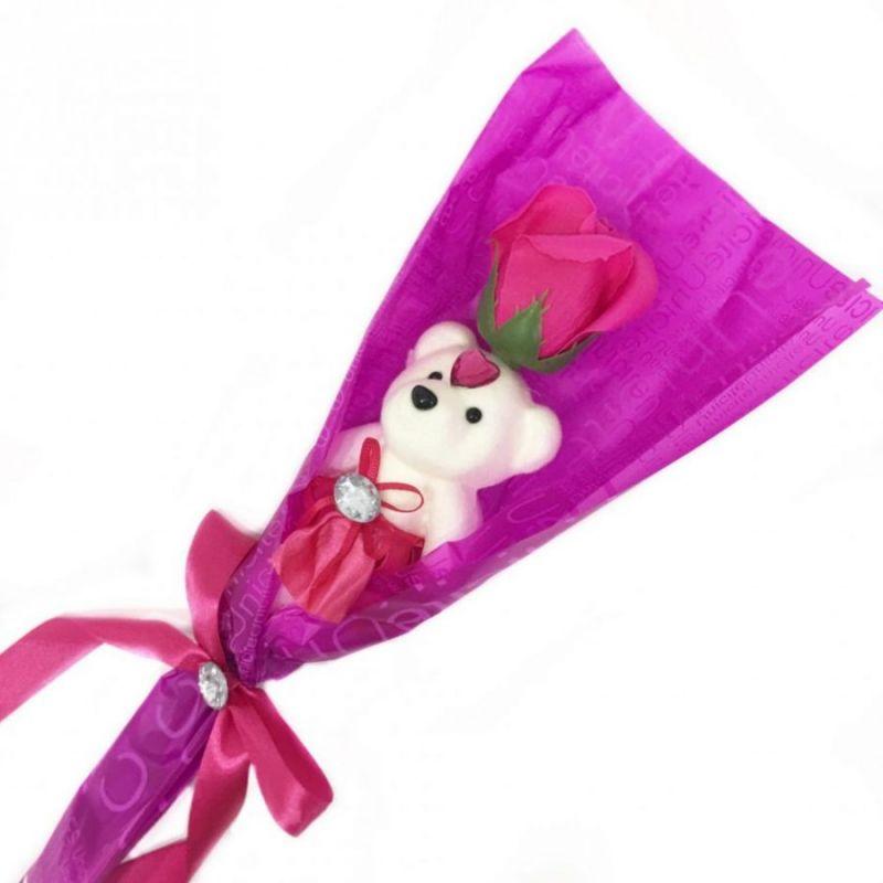 Сувенир ароматизированная роза из мыла с мишкой, 45 см, цвет темно-розовый