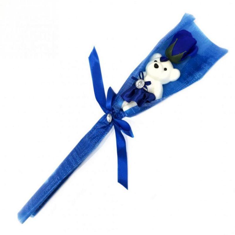 Сувенир ароматизированная роза из мыла с мишкой, 45 см, цвет синий