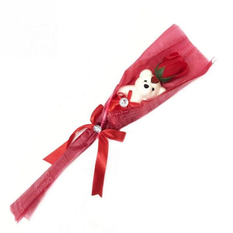 Сувенир ароматизированная роза из мыла с мишкой, 45 см, цвет красный