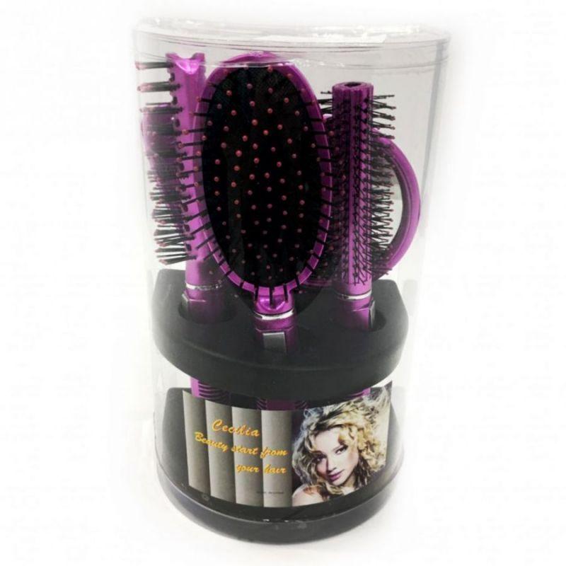 Подарочный набор расчесок для волос Cecilia, 5 шт, цвет розовый