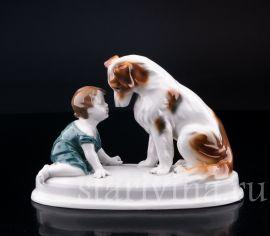 Малыш с собакой, Goebel, Германия, нач. 20 в.