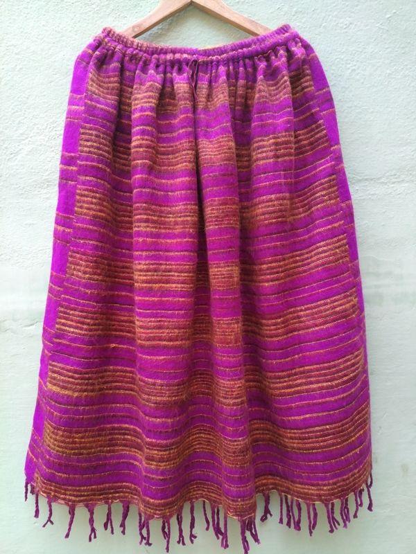 Длинная тёплая полосатая юбка, розовая (отправка из Индии)