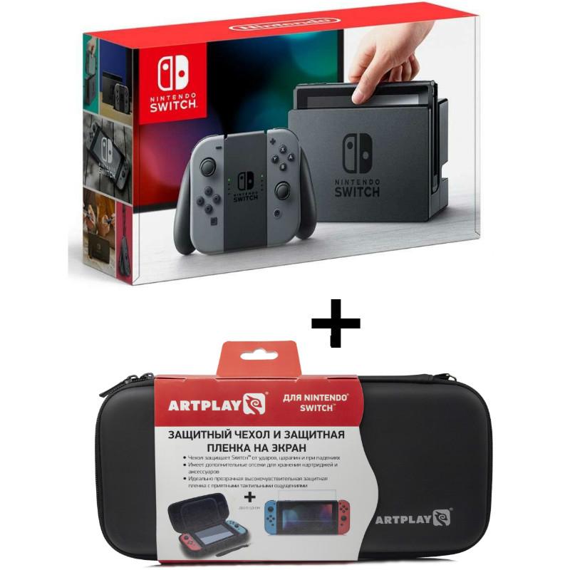 Игровая приставка Nintendo Switch (GREY) + Чехол + Плёнка