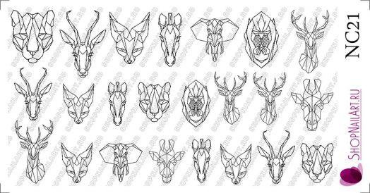 Слайдер дизайн NC21 - Крупные рисунки, Геометрия, Животные, Трафарет, черный