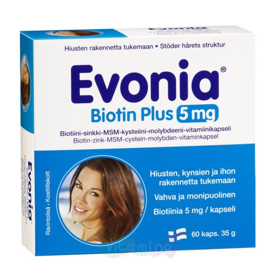 Evonia Biotin Plus Эвония витамины для волос с Биотином, 60 капс.