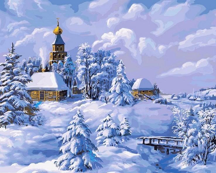 """""""Зима в деревне"""" живопись на холсте 40*50см"""