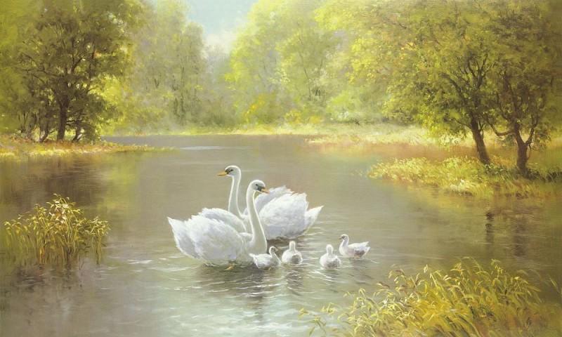 """""""Лебеди на осеннем пруду"""" живопись на холсте 40х50см"""