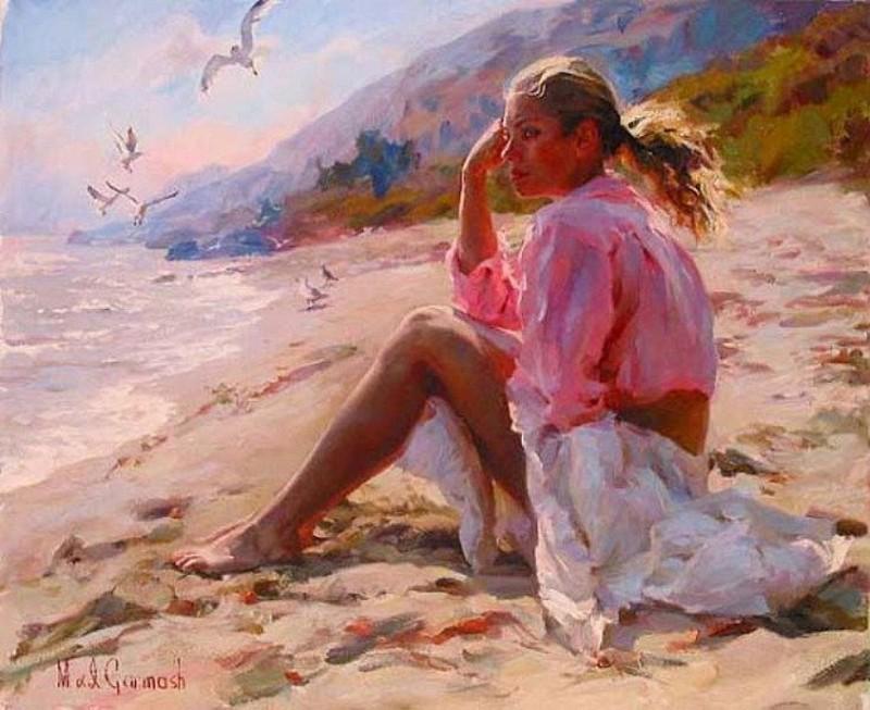 """""""Девушка на пляже"""" живопись на холсте 40х50"""