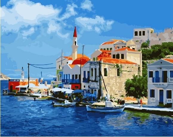 """""""Греция"""" живопись на холсте 40х50"""