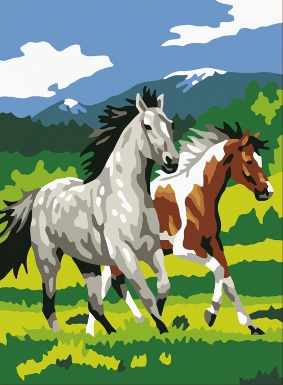 """""""Лошади"""" живопись на холсте 30х40см"""