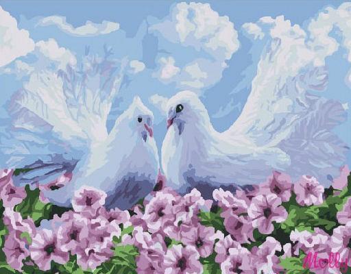 """Белые голуби"" живопись на холсте 30х40см"