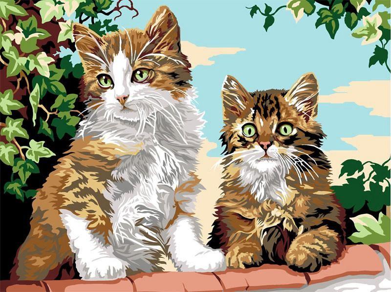 """""""Котята на заборе"""" живопись на холсте 30х40см"""