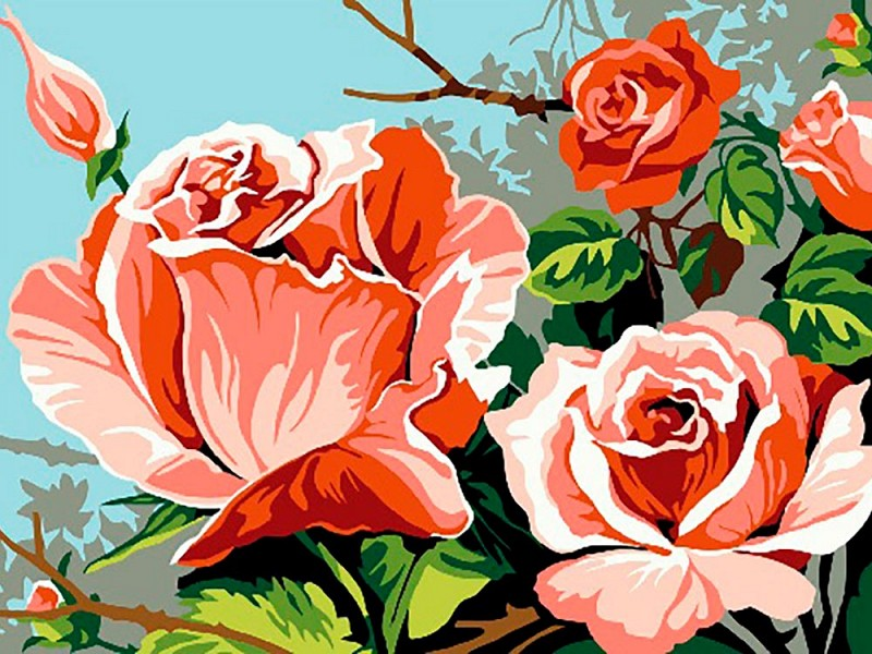 """""""Розовый куст"""" живопись на холсте 30х40см"""