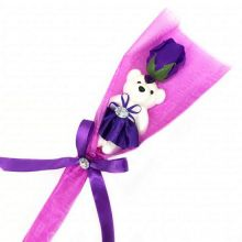 Сувенир ароматизированная роза из мыла с мишкой, 45 см, Цвет розы: Фиолетовый