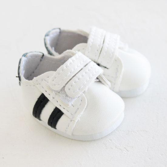 Обувь для кукол 4,5 см - кроссовки Белые с черными полосками