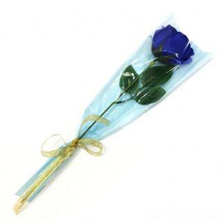 Роза из парфюмированного мыла Soap Flower, 39 см, Цвет розы: Синий